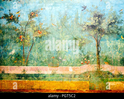 Painted walls fresco of a room in Villa di Livia at Primaporta - The National Roman Museum in Palazzo Massimo alle Terme - Rome, Italy - Stock Photo