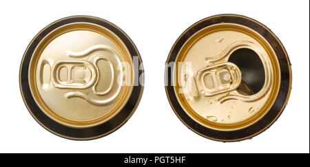 Two closed and opened golden beer cans isolated on white background, top view - Stock Photo