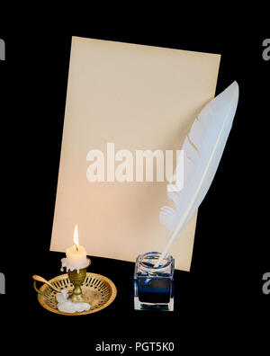 White feather in the inkwell, burning candle and blank sheet of old paper isolated on black background - Stock Photo
