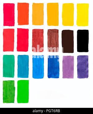 palette of gouache, all the colors of the rainbow colors list of colors squares, watercolor colors on paper - Stock Photo