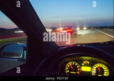 Night driving on Autostrada A1 in Poland. August 23rd 2018 © Wojciech Strozyk / Alamy Stock Photo - Stock Photo
