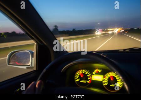 Night driving on Austrada A1 in Poland. August 23rd 2018 © Wojciech Strozyk / Alamy Stock Photo - Stock Photo