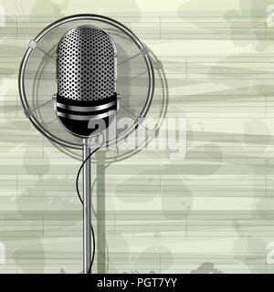 Abstract musical template with retro style metallic microphone and butterflies - Stock Photo