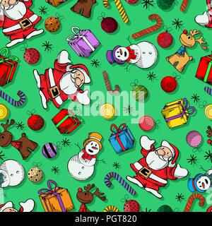 Colored Winter holidays seamless pattern design - Stock Photo