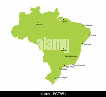 Map of Brazil with some of the main cities - Stock Photo