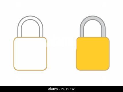 Flat illustrations of padlocks isolated on white background - Stock Photo