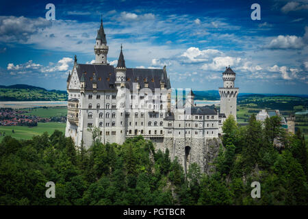 Neuschwanstein castle from Marienbrücke (Allgäu, Bavaria, Germany) - Stock Photo