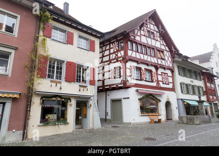 Colourful houses in Stein am Rhein. Stein am Rhein is situated where the Bodensee lake becomes the Rhine River again, Switzerland. - Stock Photo