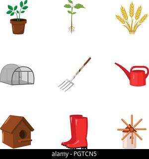 Farm set icons in cartoon style. Big collection of farm vector symbol stock - Stock Photo
