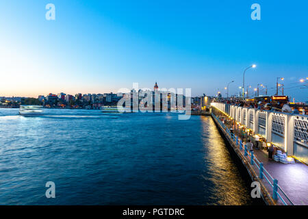 ISTANBUL, TURKEY - AUGUST 14: Istanbul view across the Golden Horn with the Galata Tower in the background on August 14, 2018 in Istanbul, Turkey. - Stock Photo