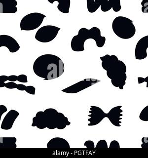 Black silhouette. Seamless pattern. Flat various macaroni. Vector illustration on white background. - Stock Photo