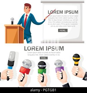 Man in suit stands at wooden tribune with microphone. Making a presentation with speech. Cartoon character design. Flat vector illustration on white b - Stock Photo