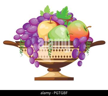Ancient Greece kylix drinking cup. Ancient wine cup cylix with patterns. Cup with apples and grapes. Greek pottery icon. Flat vector illustration isol - Stock Photo