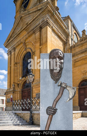 The Neoclassical Saint Peter and Paul's church / Église Saints-Pierre-et-Paul in the city Bouillon, Luxembourg Province, Belgian Ardennes, Belgium - Stock Photo
