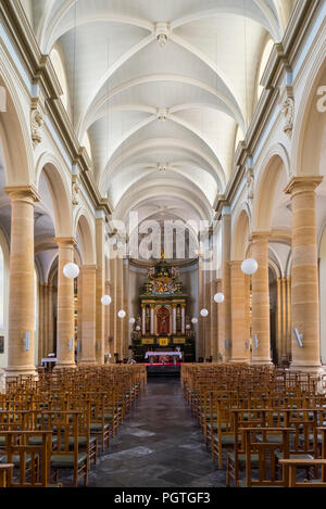The Neoclassical Saint Peter and Paul's church / Église Saints-Pierre-et-Paul in the city Bouillon, Luxembourg Province, Belgian Ardennes, Belgium - Stock Photo