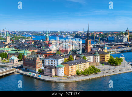 Stockholm. Aerial view of Riddarholmen and Gamla Stan (Old Town) from the Tower of Stockholm City Hall (Stadshuset), Kungsholmen, Stockholm, Sweden - Stock Photo