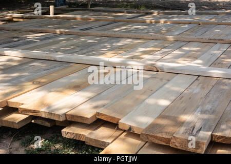 Wooden formwork concrete strip foundation for A-frame type house - Stock Photo