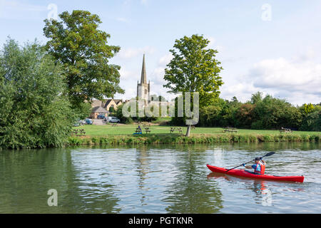 View of St Lawrence Church from the River Thames, Lechlade-on-Thames, Gloucestershire, England, United Kingdom - Stock Photo