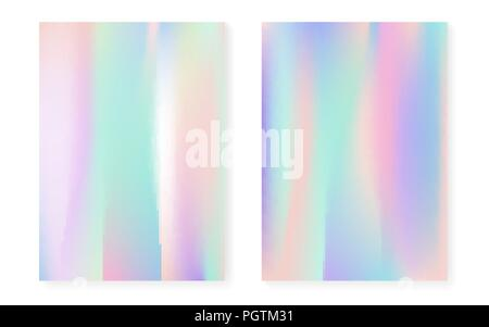 Holographic cover set with hologram gradient background. - Stock Photo