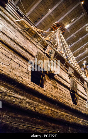 Close up of the 17th century salvaged warship at Vasa Museum, Stockholm, Sweden - Stock Photo