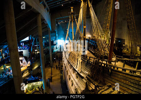 Main hall of the Vasa Museum with the 17th century salvaged warship on the right, Stockholm, Sweden - Stock Photo