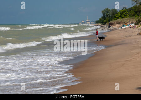 Beverly Shores, Indiana - A woman walks her dog on the beach of Indiana Dunes National Lakeshore, at the southern end of Lake Michigan. - Stock Photo
