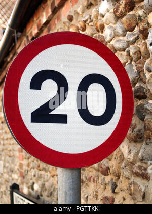 20mph limit sign - Stock Photo