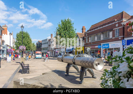 The 'Lino' sculpture on pedestrianised High Street, Staines-upon-Thames, Surrey, England, United Kingdom - Stock Photo