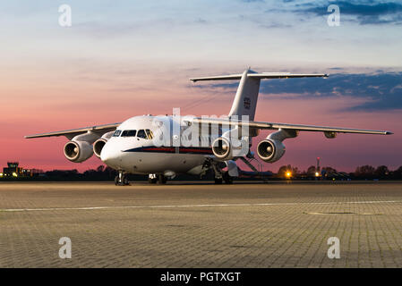 A British Aerospace 146 passanger and VIP aircraft from the No. 32 Squadron of the Royal Air Force at the RAF Northolt airbase. - Stock Photo