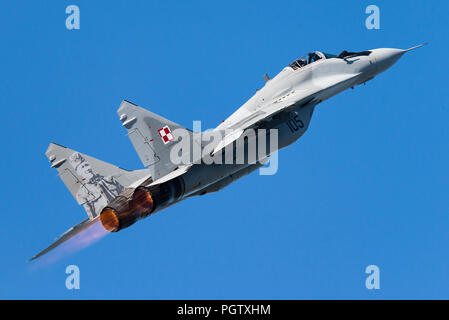 A Mikoyan MiG-29 multirole fighter jet of the Polish Air Force. - Stock Photo