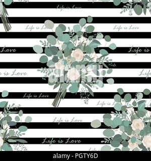 Stylish Flower Bouquet seamless pattern. Eucalyptus bunches and Life is Love text on striped background. Vector llustration. Design for wallpapers or  - Stock Photo