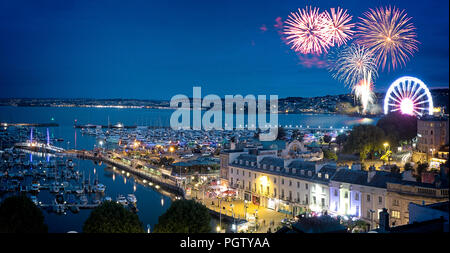 GB - DEVON: August Bank Holiday fireworks over Torquay - Stock Photo