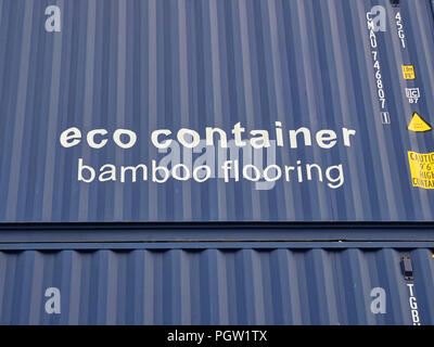 Details of an Eco Shipping Container with Bamboo Flooring, stacked up at Den Haag Container Port in Amsterdam, Holland. - Stock Photo