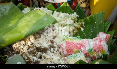 Traditional indonesian food, variety of delicious and popular assorted sweet dessert or simply known as kueh or kuih central java - Stock Photo