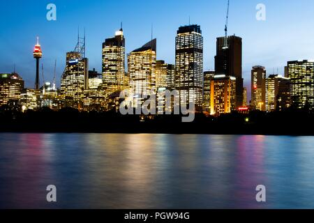 Sydney, CBD, Night shot of the Central Business Ditrict taken from Mrs macquaries chair - Stock Photo