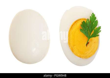 boiled egg and half isolated on white background. Top view. Flat lay - Stock Photo