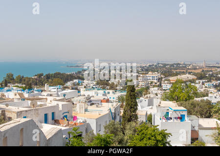 Cityscape with typical white blue colored houses in Sidi Bou Said,Tunisia, Africa - Stock Photo