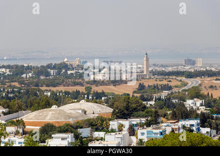 The aerial view of Tunis with the high minaret, Tunisia, Africa - Stock Photo