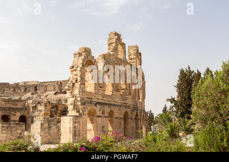 The Roman Amphitheater of El Jem is one of the best in the world in the preservation, Tunisia - Stock Photo