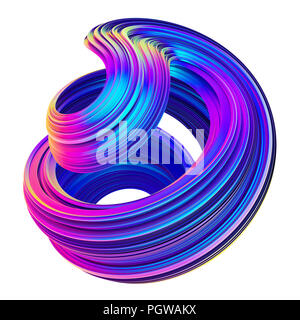 Abstract metallic holographic colored 3D fluid twisted shape.