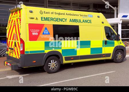 East of England, Emergency, Ambulance, Service, vehicle, National Health Service, NHS, Norfolk, UK - Stock Photo