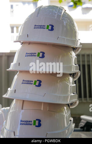 Hard hats, Bouygues Real State company, Part-Dieu district, Lyon, France - Stock Photo