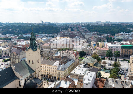 Lviv, Ukraine - August 23, 2018: Landmarks in the center of Lviv - old city in the Western part of Ukraine. View from the City Hall Tower. - Stock Photo
