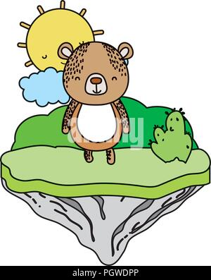 color happy bear animal in the float island - Stock Photo