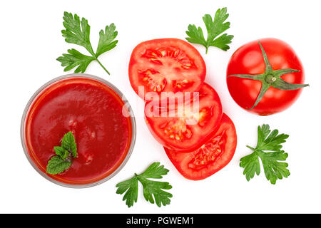 Tomato juice in glass and tomatoes with parsley leaves isolated on white background. Top view. Flat lay - Stock Photo