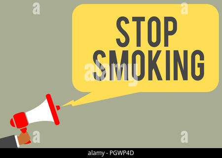 Conceptual hand writing showing Stop Smoking. Business photo text Discontinuing or stopping the use of tobacco addiction Man holding megaphone loudspe - Stock Photo
