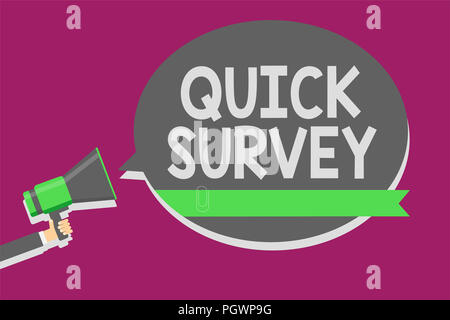 Writing note showing Quick Survey. Business photo showcasing Conduct fast check on condition value situation of something Man holding megaphone loudsp - Stock Photo