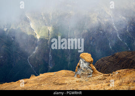 Landscape of Rocks and Waterfalls at foggy day in Himalaya Mountains in Nepal - Stock Photo