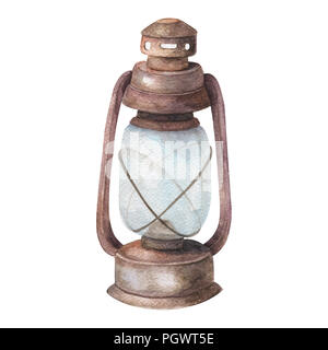 Watercolor old lamp, painting drawing bright old fashioned hand flashlight. Kerosene lamp or candle houses old lamp birthday, wedding Geometric illust - Stock Photo