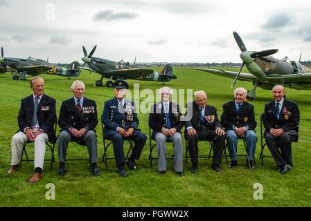 Tadeusz Andersz, Marian Jankiewicz, Franciszek Tomczak, Stefan Ryll, Mieczyslaw Sawicki, Adam Ostrowski, Jerzy Mencel. RAF wartime Polish pilots - Stock Photo